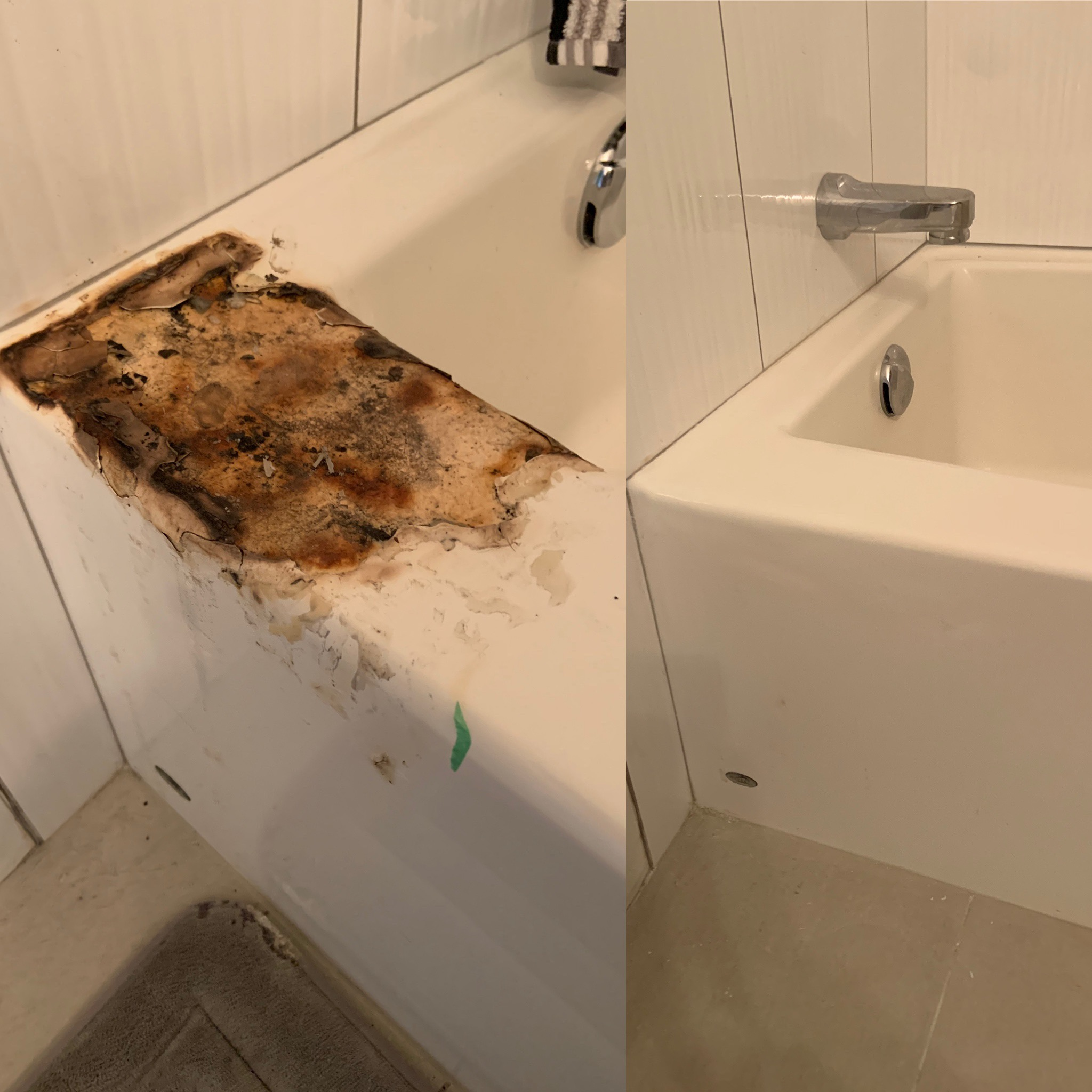 Before and After Bathtub Repair by Jim Brown with Interior Reglazing, Okanagan